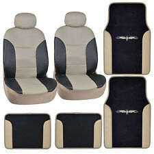 Black Beige Synthetic Leather Car Seat Covers +Vinyl Trim Carpet Floor Mats⭐⭐⭐⭐⭐
