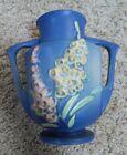 Vintage Roseville Art Pottery Foxglove Blue Double Handled Vase #46-7