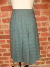 FLETCHER JONES VINTAGE BOX PLEATED WINTER NEW WOOL POLY SKIRT GREY GREEN 12 14