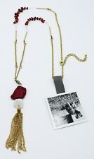 Gold Tassel Pendant Necklace with Semi Precious Stones by Anthropologie #ANT10