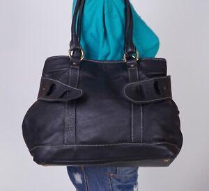 MAGGIE WILSON Large Black  Leather Shoulder Hobo Tote Satchel Purse Bag