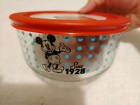 Pyrex Disney Mickey Mouse Since 1928 Glass Storage Bowl 4 Cup New Blue Polka Dot