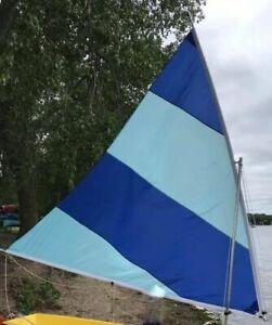 Sail for Super Snark, Sea Snark, canoe, etc. 2-tone blue colors (B-45)