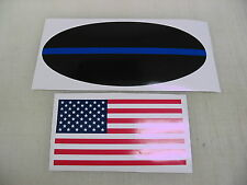 THIN BLUE LINE DECAL Police Support Sticker Oval + FREE American Flag