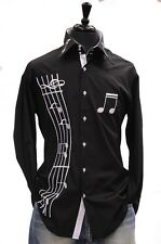 Mens Axxess Black White Music Notes High Collar Cotton French Cuff Jazz Shirt