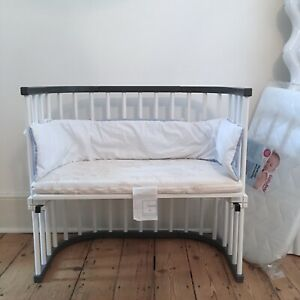 BabyBay grey / white varnished wood cot bed with 2 mattresses + bumper