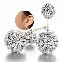 Fashion Women Jewelry Crystal Double Sided Pearl Earings Stud Earring Ball Bead