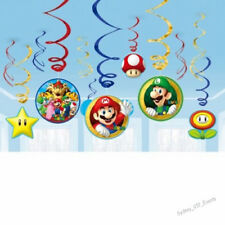 SUPER MARIO BROS BROTHERS PARTY SWIRLS VALUE PACK BOYS BIRTHDAY HANGING 12PK