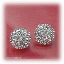 Rhinestone Silver Plated Clip Costume Earrings