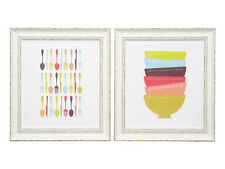 Kitchen Dining Room - Canvas with Distressed Frame - Cutlery and Bowls - NEW