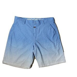 Ring of Fire Board Shorts 32 Blue Striped Pockets Swim Trunks Unlined Stretch