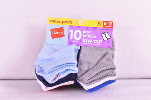 Baby Boy's Hanes 10 Pack Low Cut Socks Assorted Grey/Blue/Red & White