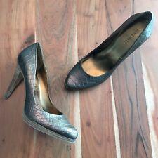 Nine West Rocha Bronce Croc Embossed Leather Almond Toe Pumps Women's 9