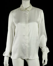 STELLA McCARTNEY White Silk Satin Floral Collar Bishop Sleeve Blouse 44