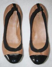Women's J. Crew Mila Cap Toe Ballet Flats Shoes Black & Tan Leather Tan Size 9