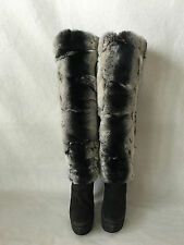 Walter Steiger Knee High Boots Grey Suede with  Chinchilla  Fur $2700 retail. 37