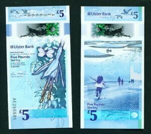 NORTHERN IRELAND - 2018 Ulster Bank £5 Polymer UNC Banknote (released 2019)