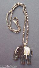 Vtg 1970s Brown Plastic Egyptian Elephant Faux Diamonds Costume Jewelry Necklace