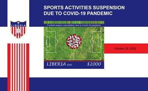 LIBERIA 2020 IMPERF SHEET - FOOTBALL SOCCER SUSPENSION DUE TO PANDEMIC - MNH