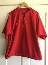 Under Armour Red Short Sleeve Baseball Cage Jacket Mens Medium