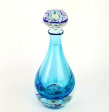 Murano Blue Millefiori Art Glass Decanter with Stopper