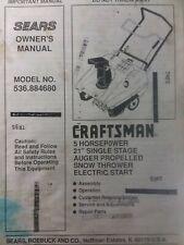 Sears Craftsman 21 5hp Snow Thrower Walk Behind Owner Amp Parts Manual 536884680