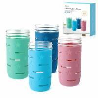 4 Pack Anti-slip Mason Jar Protector Sleeve for 16oz,24oz Wide Mouth Canning Jar