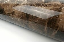 Marble Look Contact Paper Film (Brown, 24'' X 78.7'' Roll, High Glossy) Granite