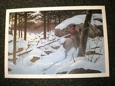 "Harry Antis ""Passing  Winter Silence"" Crow/Trapper SN Lithograph ed 500 1978"