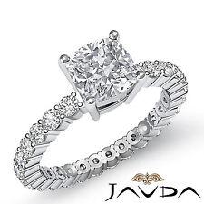 Almohadón Diamante Eternity Anillo de Compromiso GIA i VS2 Pureza 14k Oro Blanco