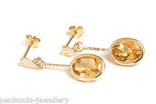 9ct Gold Citrine oval drop Earrings Made in UK Gift Boxed