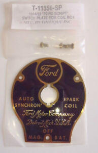 Ford Model T Auto Synchron Spark Coil Box Brass Switch Plate 1914-1922