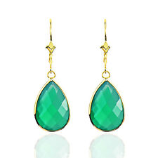 14K Yellow Gold Dange Earrings With Pear Shaped Green Onyx Gemstones