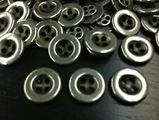 "13 European Metal Buttons 15MM 5/8"" Antique Silver Polished Rim 4hole"