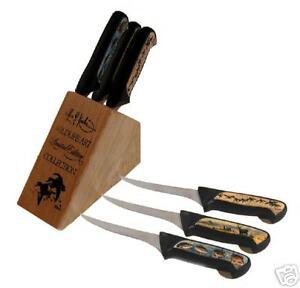 """Les Kouba """"STEAK KNIVES"""" in Wood Block - Brand New"""