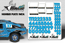 RC Number plate sticker pack 1/8 1/10 Scale body universal fit race decals-BlueW