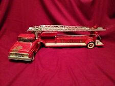 Vintage Fire Truck Tonka 5 Hydraulic Aerial Ladder Pressed Steel W/ TONKA Grille