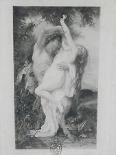 Gravure  ancienne de DE TURCK xxe Nymphe enlevée par un faune