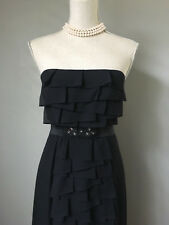 $398 BCBG Black Strapless Tiered Silk Strapless Spanish Gown Prom Dress 6 Small