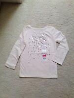 New Winter White Long-Sleeve Silver Foil Sparkle T-Shirt Girls (4,5,6,6x,7)