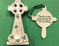 "4.5"" X 2"" Celtic Watervale Cross And Claddagh Cross / Irish Saying"