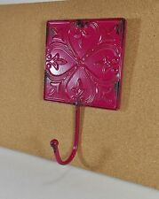 Wall Hook/Plague/French Country Decor//Pink Distressed Metal Shabby Hat
