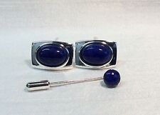 Rectangular Cufflinks with LAPIS LAZULI stone and Cravat/Tie Pin, Silver plated.