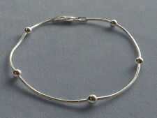 """10""""  STERLING SILVER ANKLE BRACELET- SNAKE CHAIN w/4mm ROUND BEADS - ITALY 925"""