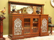 IMPRESSIVE ANTIQUE ROSEWOOD 4 DOOR MIRROR SIDEBOARD CABINET ~FINE FRETWORK c1830