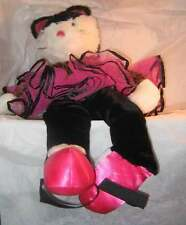 PLUSH KITTY CAT PINK & BLACK PHIBA BALLERINA NEW FREE USA SHIPPING