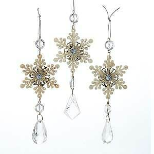 Set of 3 Platinum Snowflake Drop Acrylic Ornaments w