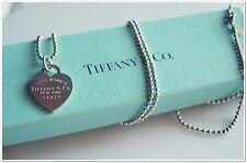 "Tiffany Co Sterling Silver Return to Tiffany Heart  w Tiffany 33"" Beadball Chain"