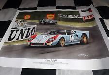 FORD Gt40 Le Mans 24 Ore DENNY HULME 1966 NUOVA PITTURA STAMPA ARTE Chris Dugan