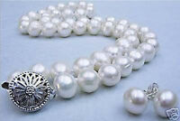 """10-11MM White Akoya Cultured Pearl necklace earrings set 18""""AAA"""